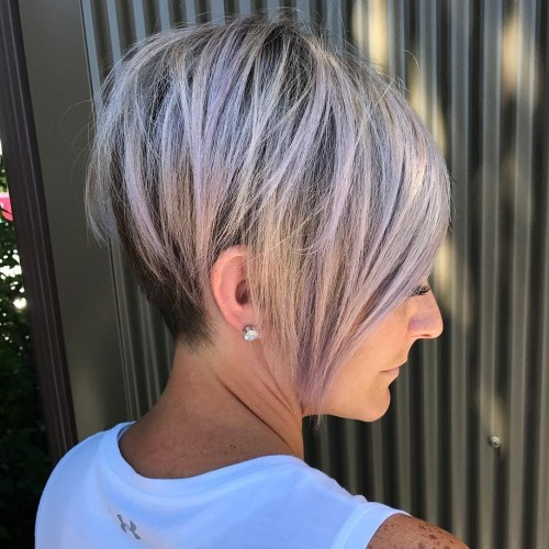 Gorgeous Long Lilac Inverted Bob