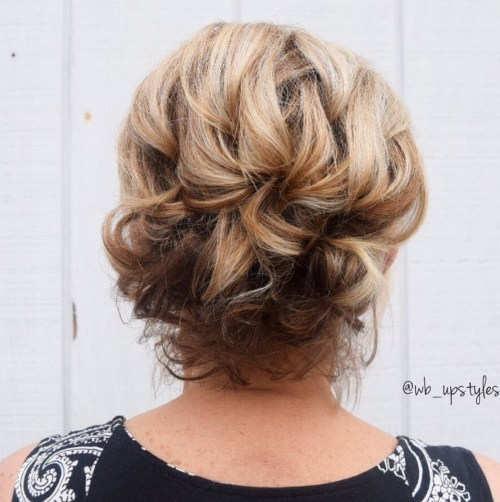 Chic Updo For Short Wavy Hair