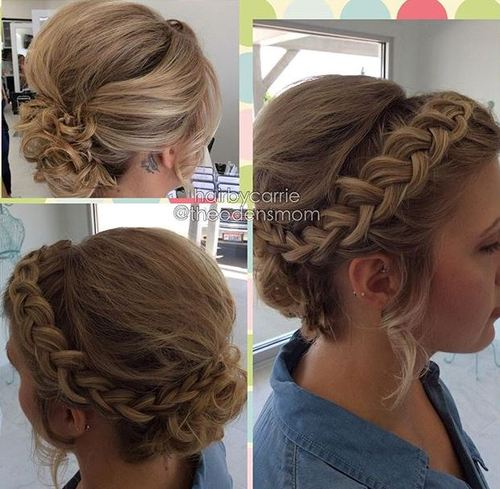 curly braided updo for short hair