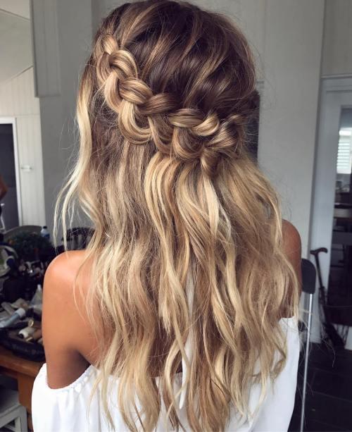 Half Up Crown Braid For Long Hair