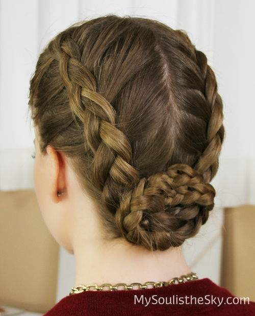 Centre Parted Braided Updo With A Bun