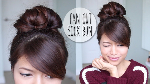 casual sock bun updo for long hair