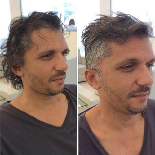 men's wavy haircut with side undercut