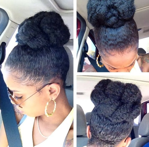 high bun updo hairstyle for black women