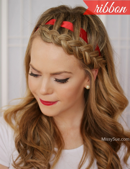 braided bangs with a ribbon