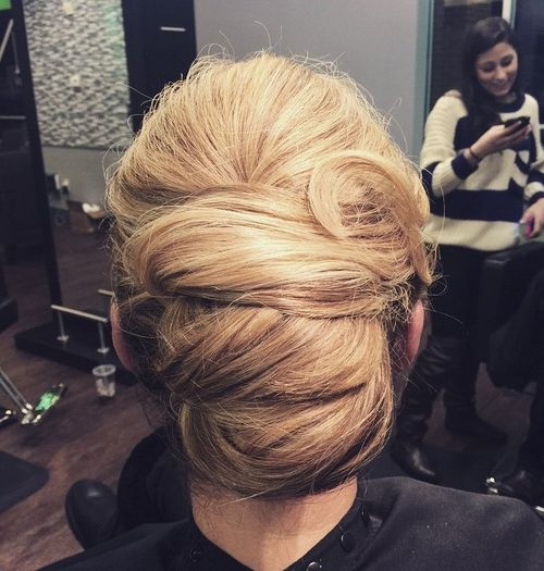 three-tiered french twist updo