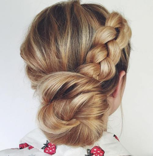 Back Low Bun With A Braid