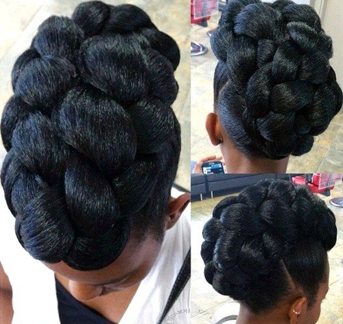 sophisticated black braided updo for natural hair