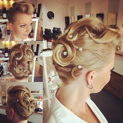 vintage blonde updo for short hair
