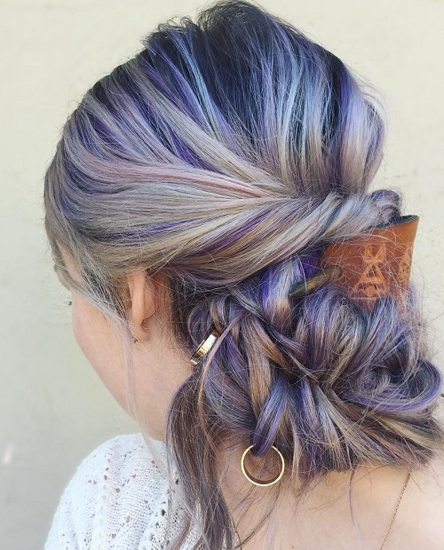 Boho Messy Bun With Purple Highlights