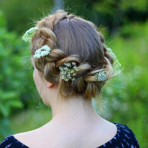Crown Braid Updo With Flowers