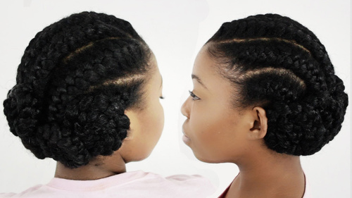 black braided updo with cornrows and buns