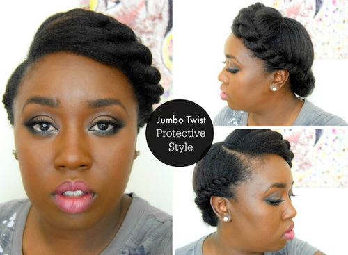 twisted updo hairstyle for black women