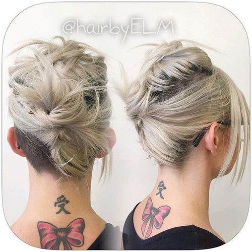 casual messy updo for medium hair