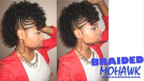 black braided mohawk updo