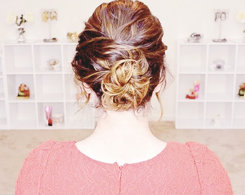 casual messy bun updo for long hair