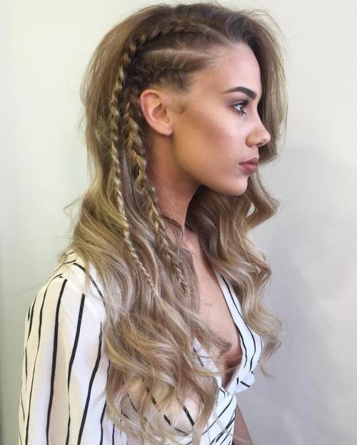 30 gorgeous braided hairstyles for long hair long wavy hairstyle with side braids urmus Gallery