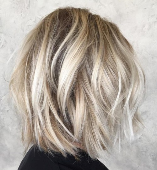 Messy Long Blonde Bob With Sliced Ends