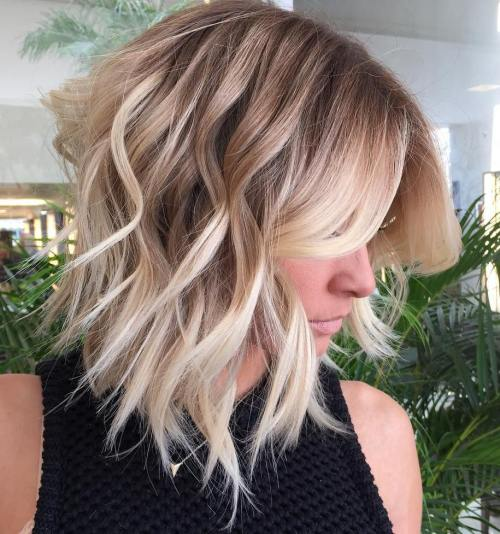 Choppy Wavy Blonde Balayage Lob
