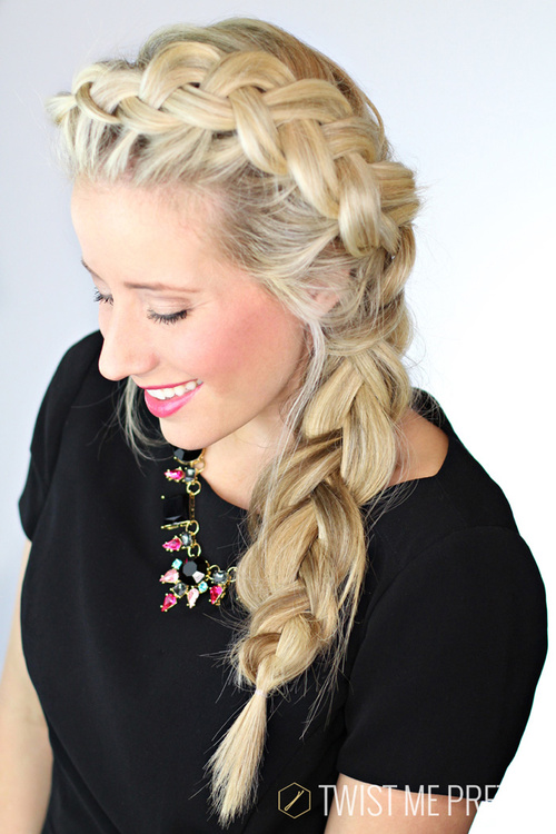 loose messy side braid hairstyle