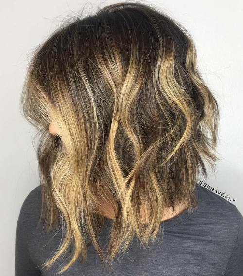 Choppy Brown Bob With Blonde Highlights