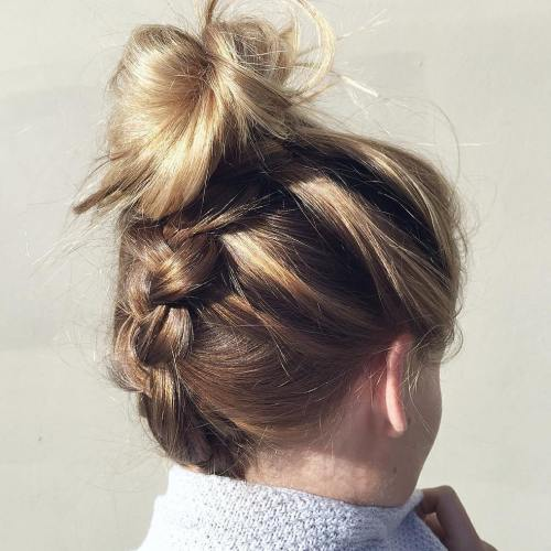 40 updos for long hair easy and cute updos for 2017 messy upside down braid and bun updo pmusecretfo Choice Image