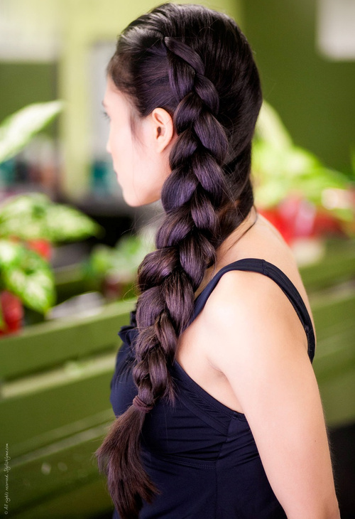 side braid hairstyle for long thick hair