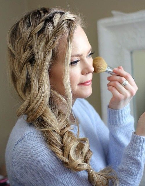 loose side fishtail with two headband braids