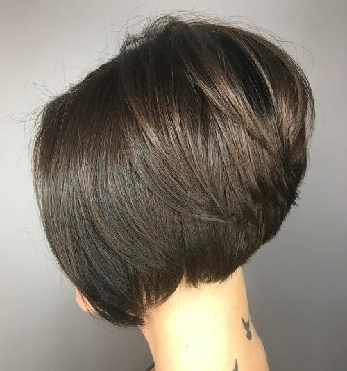 Slick Stacked Brunette Bob