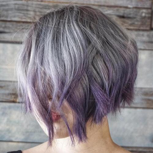 Gray Bob With Purple Dip Dye