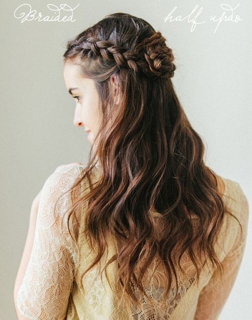 half updo with braided rosette