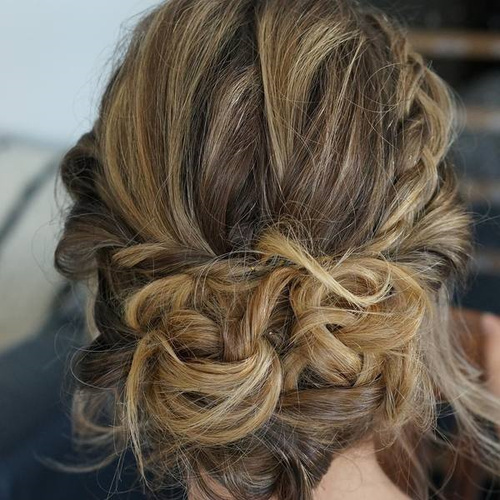 Messy Updo With A Crown Braid