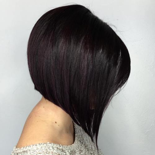 Black Angled Stacked Bob