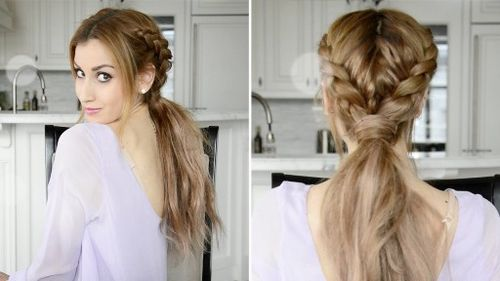two french braids and low pony