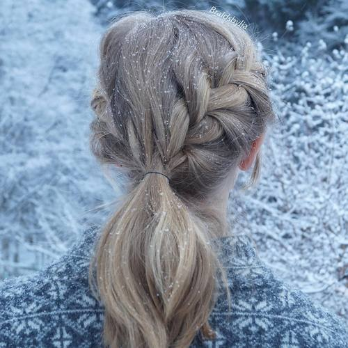 simple ponytail with french braids