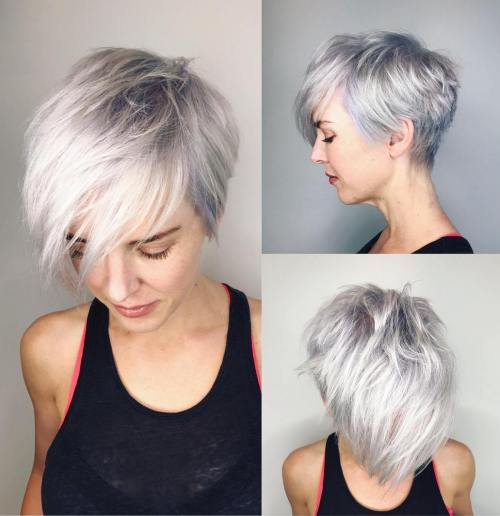 Choppy Gray Pixie With Bangs