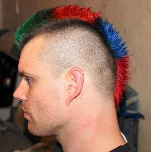 multicolored short Mohawk