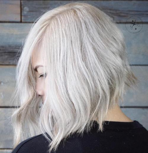 Silver Blonde Choppy Bob