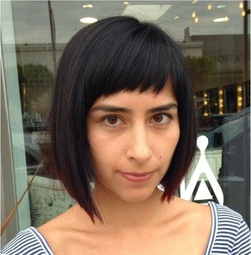 asymmetrical angled bob with cropped bangs