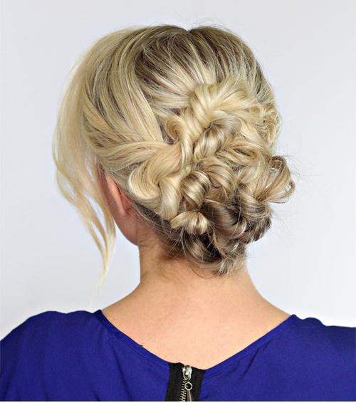 formal updo hairstyle with low twisted bun