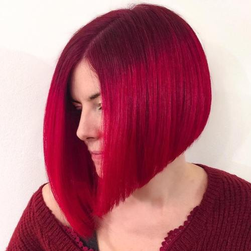Blunt Cherry Red Angled Bob