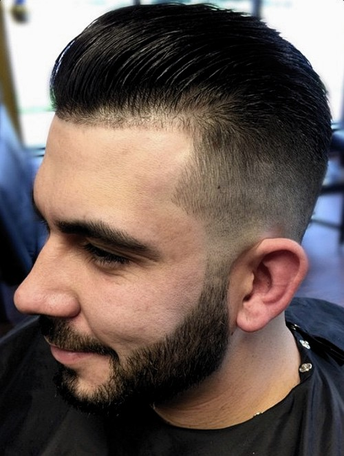 combed back taper fade