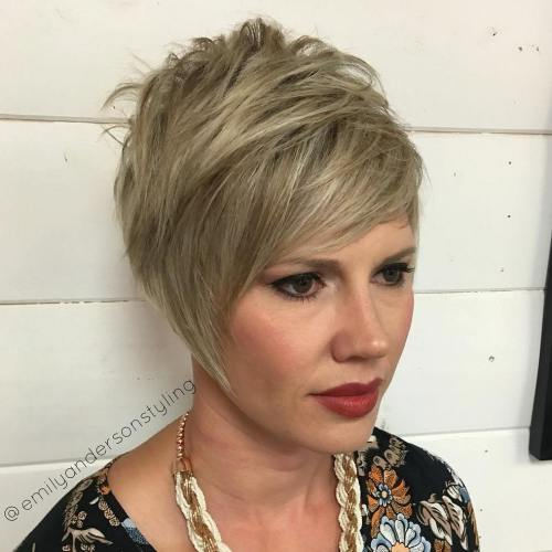 Long Layered Ash Blonde Pixie