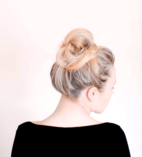 loose messy high bun