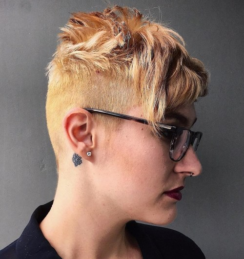 Short Honey Blonde Undercut Haircut