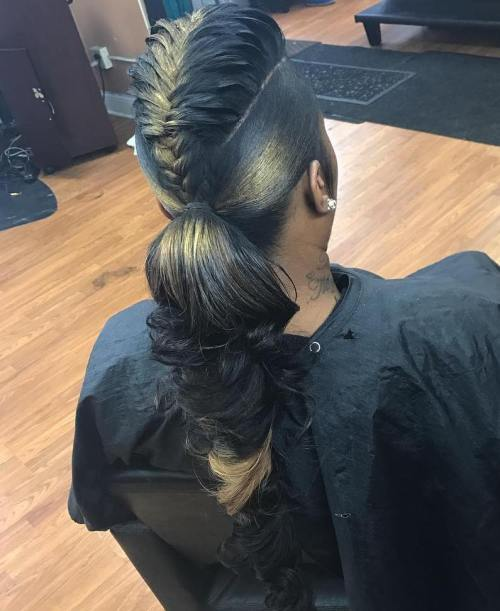 African American Mohawk Braid With A Ponytail
