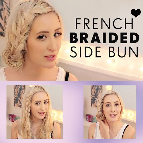 Loose side updo with a French braid