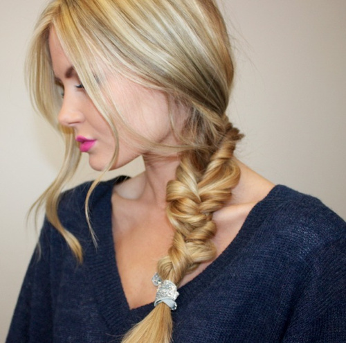 cute loose side braid hairstyle