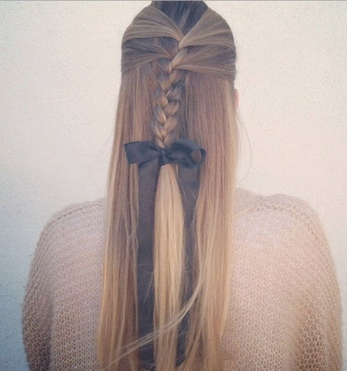 Half up braided hairstyle for long straight hair