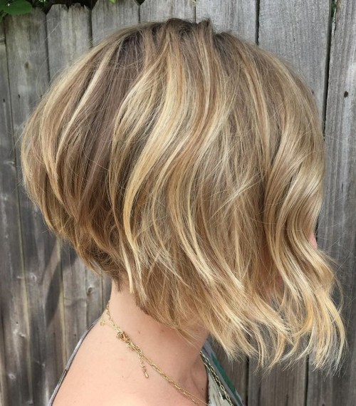 Brown Blonde Angled Bob